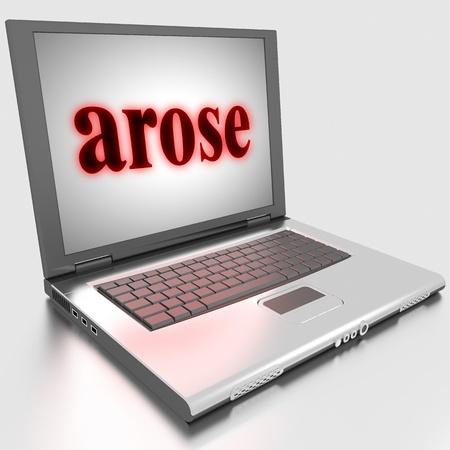 arose: Word on laptop made in 3D