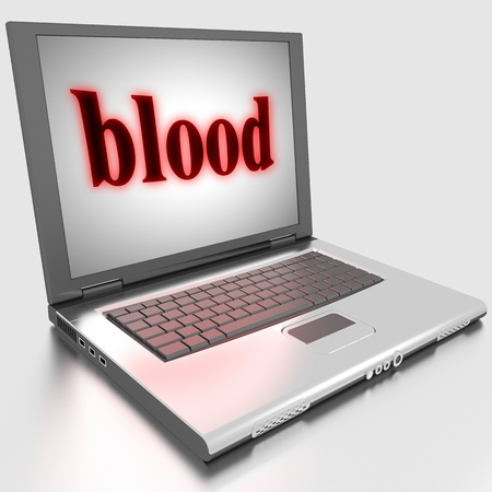 blood transfer: Word on laptop made in 3D
