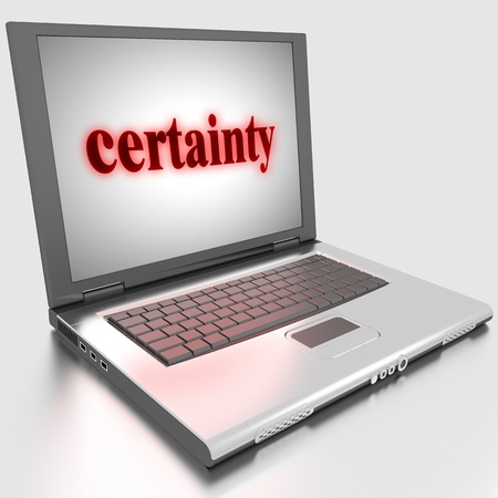 certainty: Word on laptop made in 3D