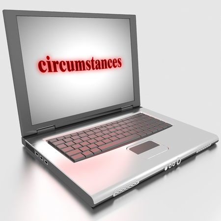 the circumstances: Word on laptop made in 3D