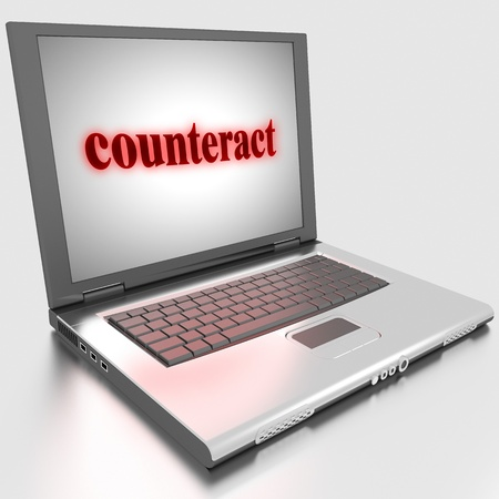 counteract: Word on laptop made in 3D