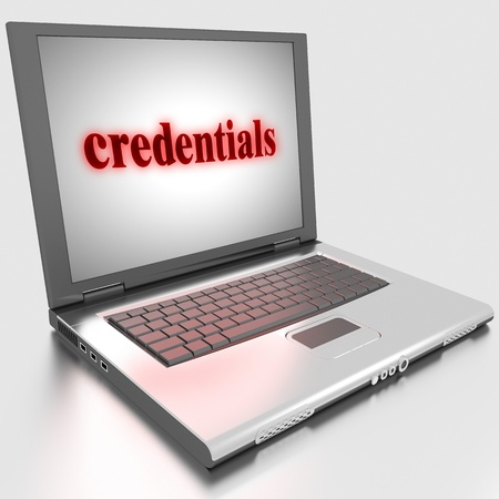 credentials: Word on laptop made in 3D
