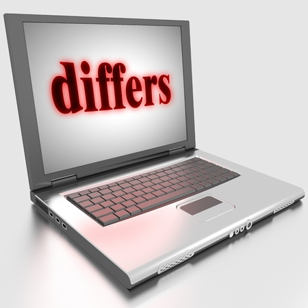 differs: Word on laptop made in 3D