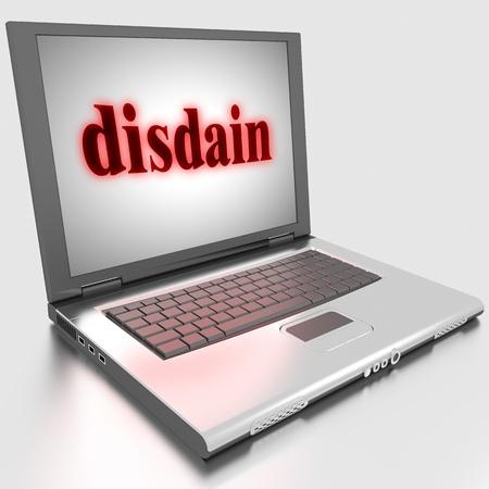 disdain: Palabra hecha en la computadora port�til en 3D