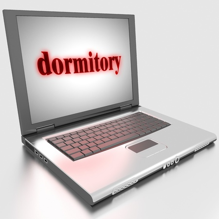 dormitory: Word on laptop made in 3D