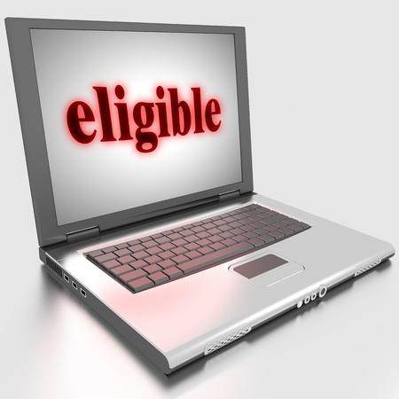 eligible: Word sul computer portatile realizzato in 3D