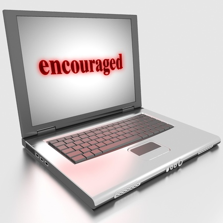 encouraged: Word on laptop made in 3D