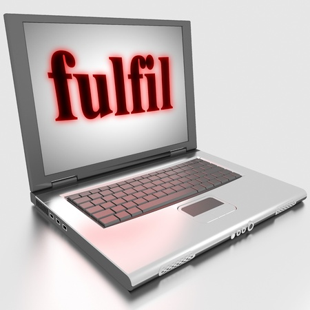 fulfil: Word on laptop made in 3D