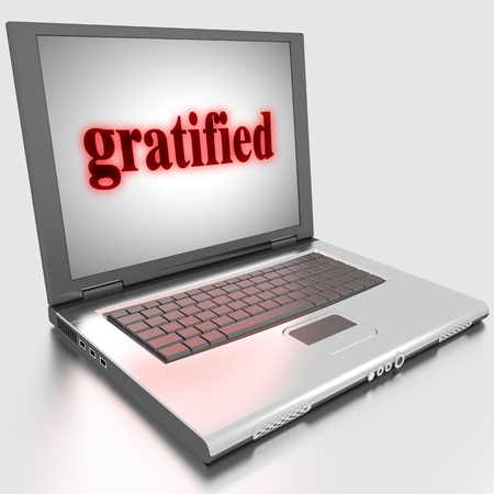 gratified: Word on laptop made in 3D