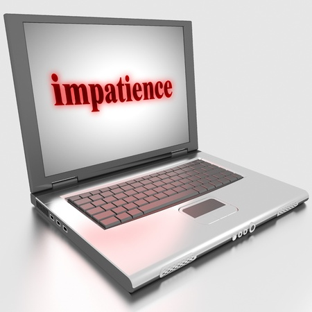 impatience: Word on laptop made in 3D