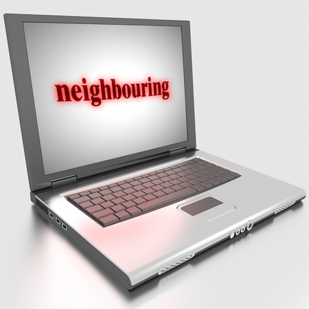 neighbouring: Word on laptop made in 3D
