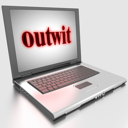 outwit: Word on laptop made in 3D