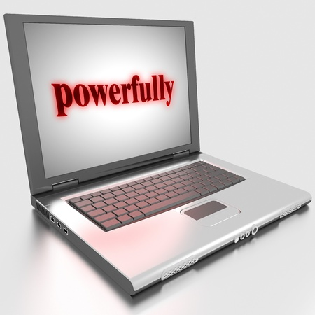 powerfully: Word on laptop made in 3D