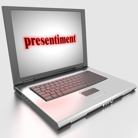 presentiment: Word on laptop made in 3D