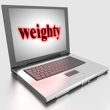 weighty: Word on laptop made in 3D