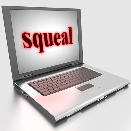 squeal: Word on laptop made in 3D