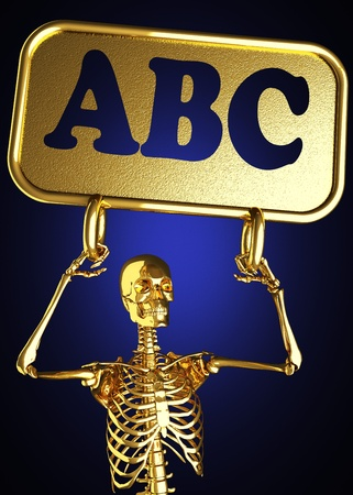 Golden skeleton holding the sign made in 3D Stock Photo - 13388062