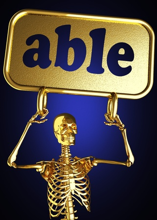 Golden skeleton holding the sign made in 3D Stock Photo - 13388066