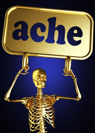 Golden skeleton holding the sign made in 3D Stock Photo - 13388078
