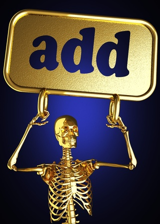 Golden skeleton holding the sign made in 3D Stock Photo - 13388068