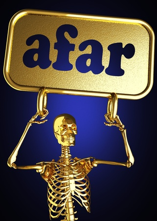 Golden skeleton holding the sign made in 3D Stock Photo - 13388072