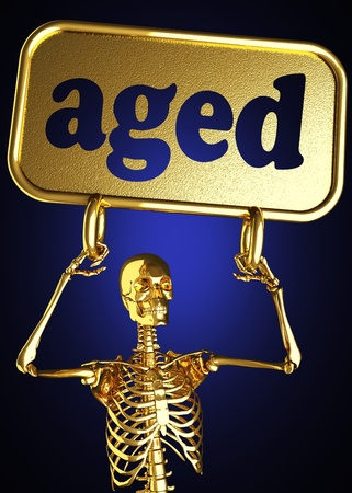 Golden skeleton holding the sign made in 3D Stock Photo - 13388064