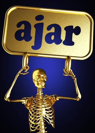 Golden skeleton holding the sign made in 3D Stock Photo - 13388071