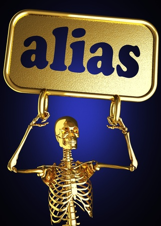 Golden skeleton holding the sign made in 3D Stock Photo - 13388073