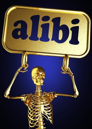 Golden skeleton holding the sign made in 3D Stock Photo - 13388063