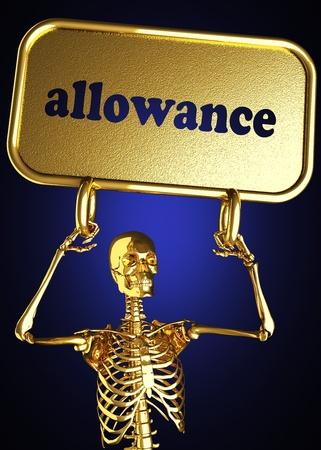 allowance: Golden skeleton holding the sign made in 3D