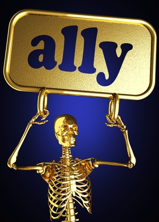 Golden skeleton holding the sign made in 3D Stock Photo - 13388076