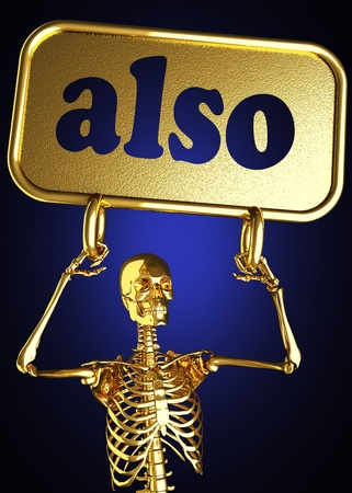 Golden skeleton holding the sign made in 3D Stock Photo - 13388079
