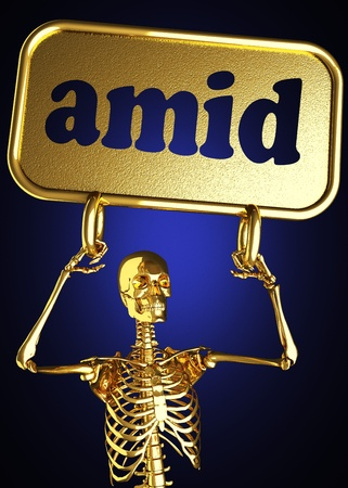 Golden skeleton holding the sign made in 3D Stock Photo - 13388074