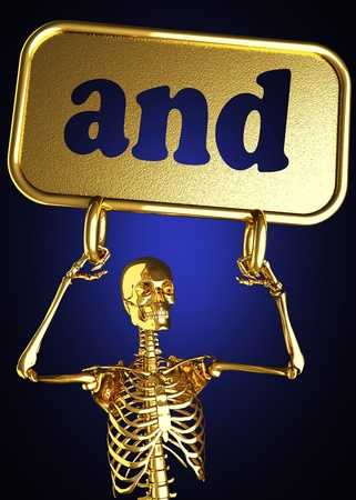 Golden skeleton holding the sign made in 3D Stock Photo - 13388077