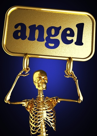 Golden skeleton holding the sign made in 3D Stock Photo - 13388674