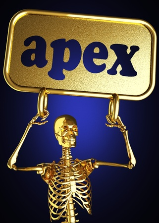 Golden skeleton holding the sign made in 3D Stock Photo - 13388081