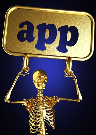 Golden skeleton holding the sign made in 3D Stock Photo - 13388067