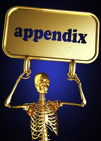 Golden skeleton holding the sign made in 3D Stock Photo - 13395194