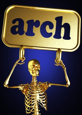 Golden skeleton holding the sign made in 3D Stock Photo - 13388080
