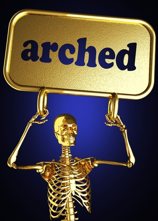 arched neck: Golden skeleton holding the sign made in 3D