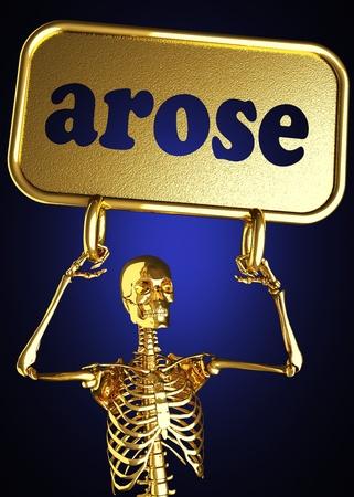 arose: Golden skeleton holding the sign made in 3D