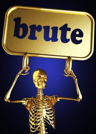brute: Golden skeleton holding the sign made in 3D