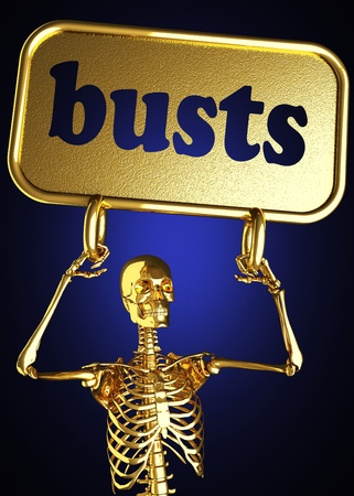 busts: Golden skeleton holding the sign made in 3D