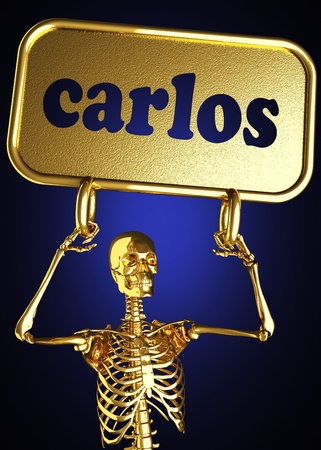 carlos: Golden skeleton holding the sign made in 3D