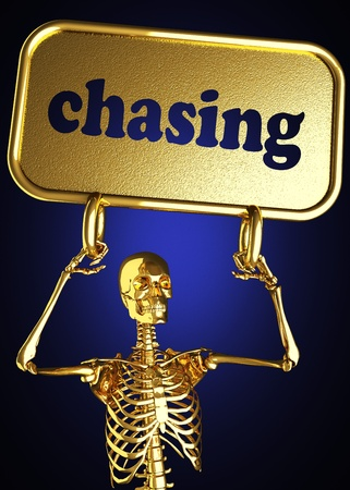 Golden skeleton holding the sign made in 3D Stock Photo - 13391090