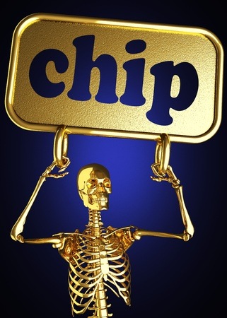 Golden skeleton holding the sign made in 3D Stock Photo - 13394929