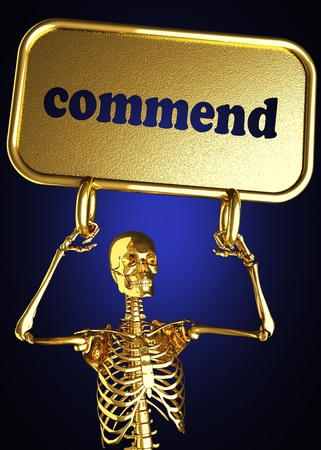 commend: Golden skeleton holding the sign made in 3D
