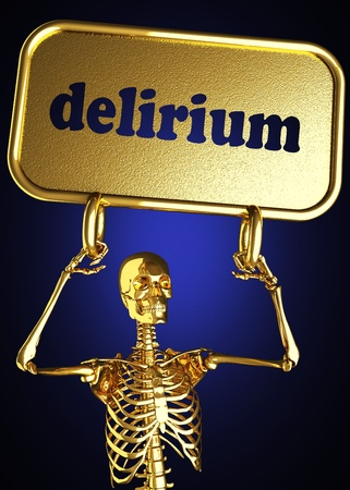 delirium: Golden skeleton holding the sign made in 3D