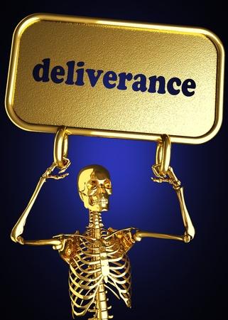 délivrance: Squelette d'or tenant le signe réalisé en 3D Banque d'images