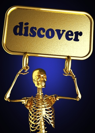 Golden skeleton holding the sign made in 3D Stock Photo - 13389219